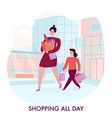 mother with daughter shopping vector image vector image