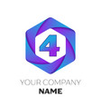 number four logo in the colorful hexagonal vector image vector image