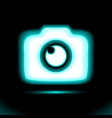 photo camera blue glowing neon icon lamp sign vector image vector image