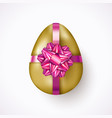 realistic easter egg with violet ribbon and gift vector image vector image