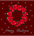 red poinsettia wreath and white snow christmas vector image