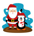 santa claus and penguin with hat to merry vector image vector image