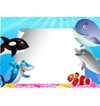 Sea life cartoon with blank sign vector image vector image