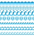 Seamless blue waves patterns vector image vector image