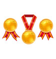 set champion gold award medals with red ribbons vector image vector image