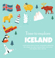 set iceland symbols and tourist attractions vector image