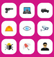 set of 9 editable security flat icons includes vector image
