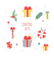 set of christmas graphic elements on a white vector image vector image