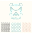 set of outline emblems and patterns vector image vector image