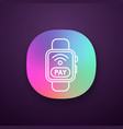smartwatch nfc payment app icon vector image vector image