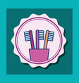 toothbrushes in plastic cup banner bathroom vector image
