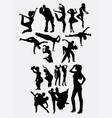 traditional and modern dancer silhouette vector image vector image