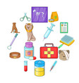 Veterinary clinic icons set cartoon style
