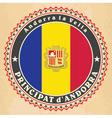 Vintage label cards of Principality of Andorra fl vector image