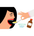 woman swallow cough syrup vector image