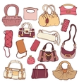 Womens handbags Hand drawn Set vector image