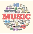 Music instruments circle concept Icons design for vector image