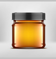3d ideal transparent glass jar with oil vector image vector image
