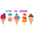 a set of five different sweet ice cream smiley on vector image vector image