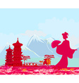 abstract Asian Landscape and beautiful Asian girl vector image vector image