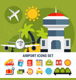 airport service flat icons set vector image