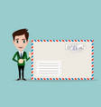 business man holding envelope vector image vector image