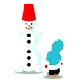 Child has done snowman isolated on white vector image vector image