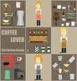 Coffee Lover Cartoon and Icon Design vector image vector image
