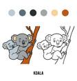 coloring book koala vector image vector image