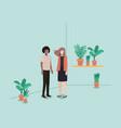 couple with houseplants in shelf vector image vector image