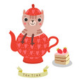 cute cat in teapot funny tea ti vector image vector image
