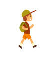 cute happy boy traveling with backpack vector image vector image