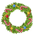 decorated christmas wreath colorful festive vector image vector image