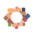 diversity hands hold each other teamwork support vector image