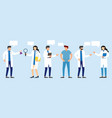 doctors and nurses standing and talking vector image vector image