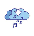 download cloud with objects isolated icon vector image