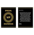 golden vip invitation template vector image vector image