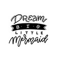 hand drawn inscription dream big little mermaid vector image