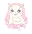 hand drawn of a kawaii funny unicorn cat with vector image vector image