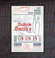 hand drawn vintage invitation on birthday with hop vector image