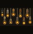 light bulb vintage set glowing shine lamp vector image vector image