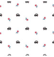 london cartoon cab cars and flowers seamless vector image