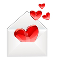 love letter and red hearts vector image