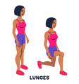 lunges sport exersice silhouettes of woman doing vector image