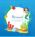 mermaid banner template marine life marine life vector image vector image