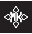 mk logo monogram with four cone rounded vector image vector image