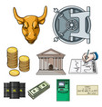 money and finance set icons in cartoon style big vector image vector image