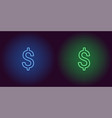 neon icon of blue and green dollar vector image vector image