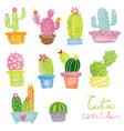 pastel watercolor cactus set vector image