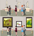 people in museum and gallery vector image vector image